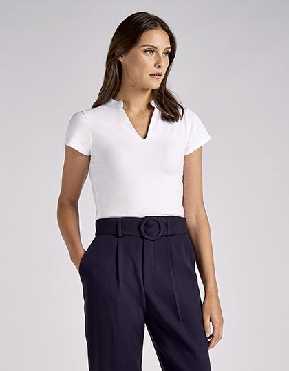 Regular Fit Corporate Top V Neck Mandarin Collar